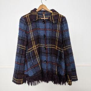 Free People plaid fringe sweater swing coat EUC M